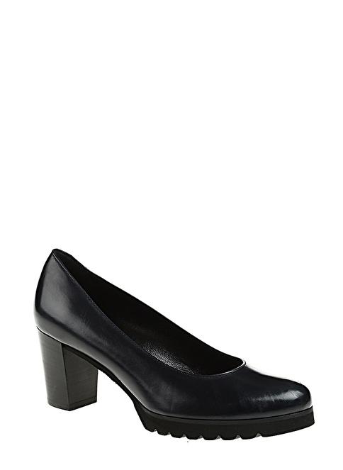 Divarese Deri Kalın Topuklu Ayakkabı Lacivert